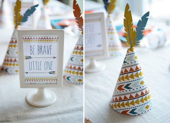 DIY printables tribal kilim geometric bow and arrow little brave man boy indian baby shower party first birthday