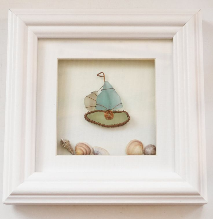 Sea glass boat picture - pinned by pin4etsy.com