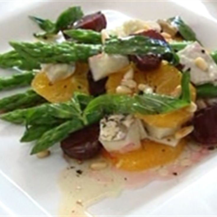 Try this Asparagus, Orange, Beetroot and Goats Cheese Salad with Walnut dressing recipe by Chef Peter Evans. This recipe is from the show Short Orders.