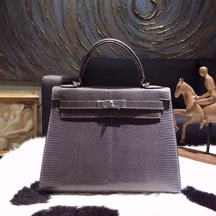 Hermes Kelly 25cm Lizard Gris Fonce Palladium - Shop Ms Fashion ...