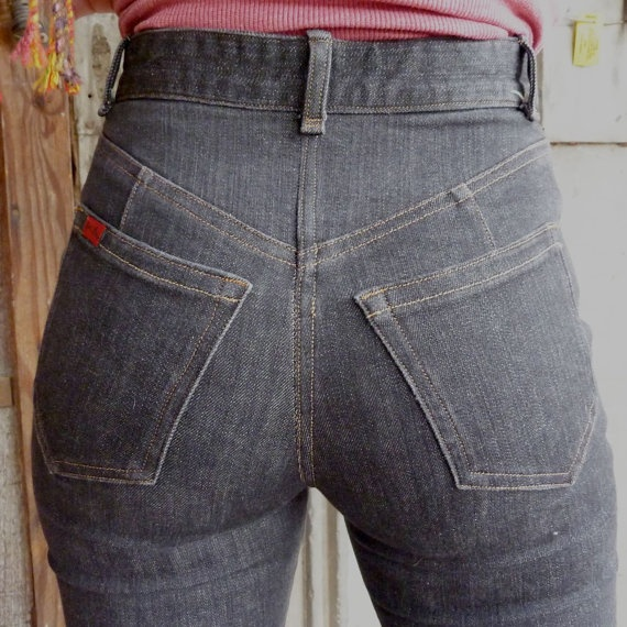 {Black High Waisted Jeans} custom made. yes please! I wish these would come back in style, I hate low wasted pants especially since I have gained weight, looking at muffin tops is never nice