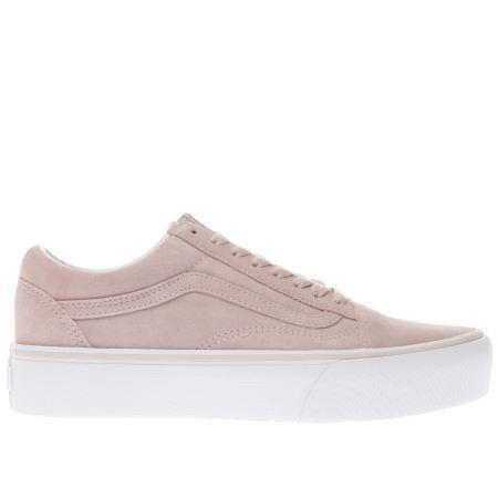 womens vans pale pink old skool platform