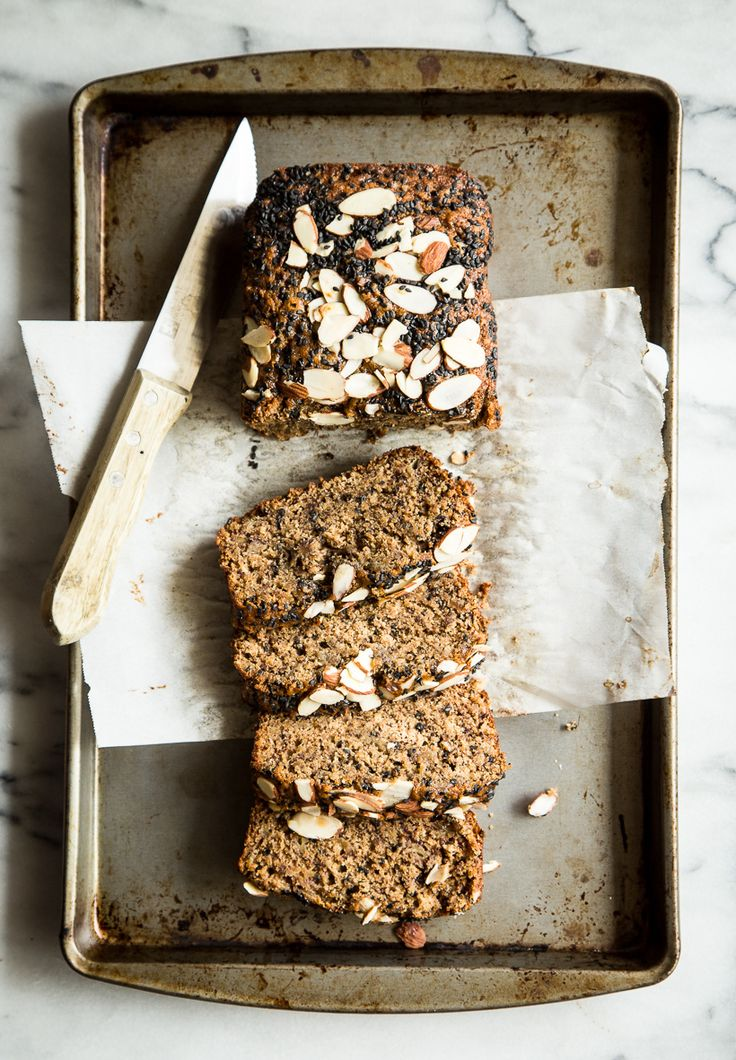 This black sesame banana bread topped with tahini almond butter is everything!