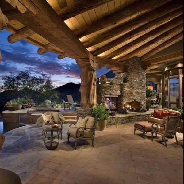 Beautiful rustic cabin porch view of the skyline & mountains