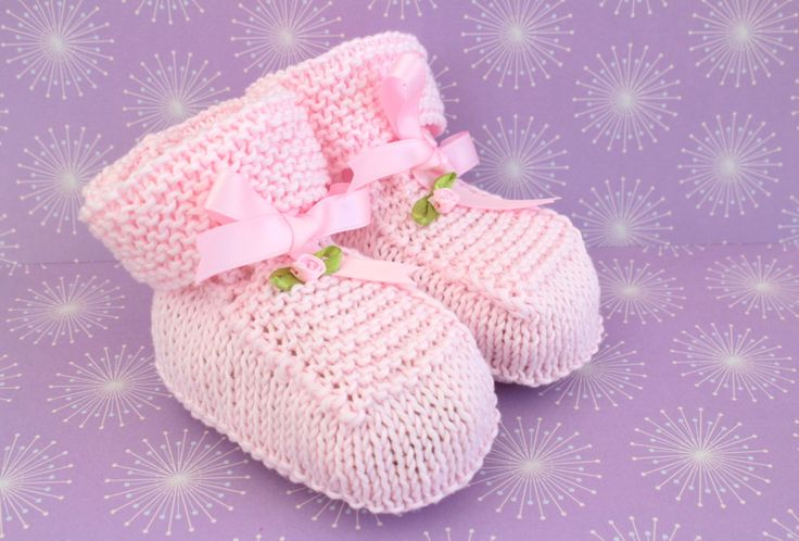 Baby Girl Shoes, Crib Shoes, Pale Pink Booties,  Hand Knit Booties, Cotton Booties, Pretty Booties, Baptism Shoes, Christening, Baby Shower by Pinknitting on Etsy