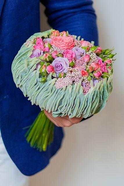Букет невесты с озотамнусом и розами - Пастэльные краски