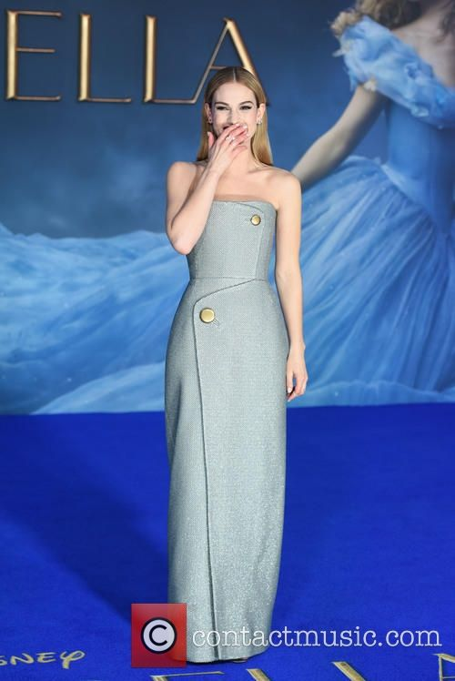 Lily James looked stunning in this custom Balenciaga silver dress at the UK premiere of Cinderella