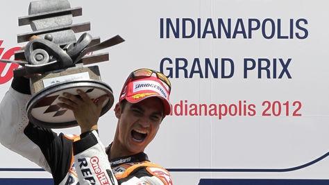 Dani Pedrosa cierra el triplete español en Indianápolis 20/08/2012 http://www.telecinco.es/motogp/gran-premio-de-indianapolis/carreras/Dani-Pedrosa-triplete-espanol-Indianapolis_0_1672032959.html