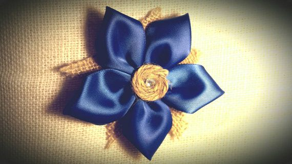 Something Blue Hair Flower / Bridal Hair Pin by BootsAndDirtRoads