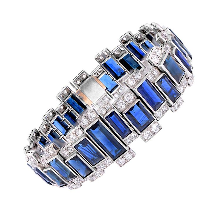 Contemporary Sapphire and Diamond Bracelet