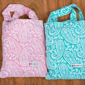 Paisley Cot sheet sets that comes in their own pretty tote bags (Pink & Mint)