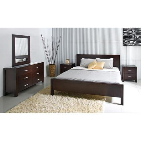 Dark Wood Bedroom Furniture With Silver Accents.