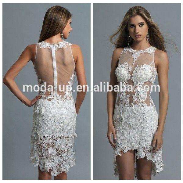 Knielengte witte kanten jurk, sexy kanten jurk met open rug, zien door kant avondjurk-' s avonds jurken-product-ID:60113074755-dutch.alibaba.com