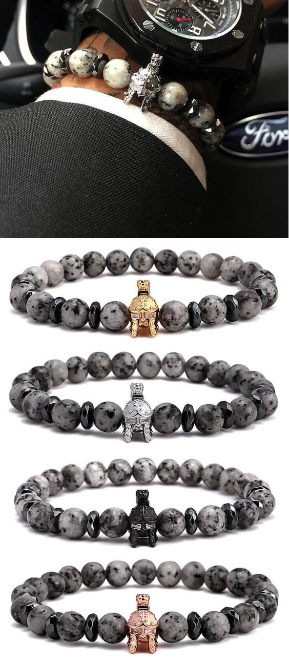 Spartan Warrior Helmet & Natural Agate Stone Mens Bracelet