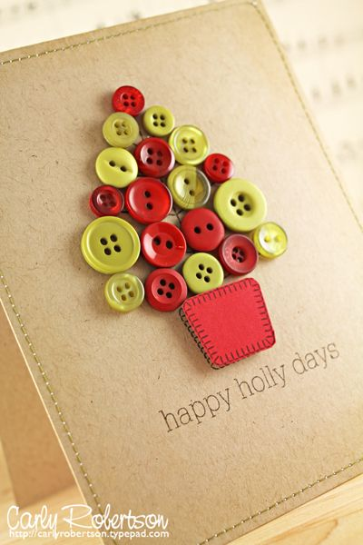 Button Christmas card.: Idea, Hands Made, Diy Fashion, Holidays Cards, Buttons Trees, Christmas Trees, Buttons Cards, Diy Christmas Cards, Crafts