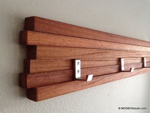 "Wall Rack 7 Hook Modern Key Hat Minimalist  Wall Hanging by MODBOX, $57.00  42""L x 5.75"" H x 1.5""D"