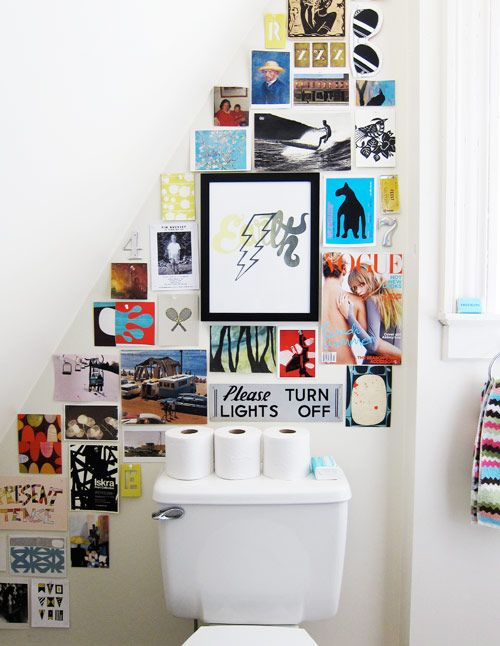 Wall art ~ Loving this collection prints. A really good way to jazz up the bathroom wall.