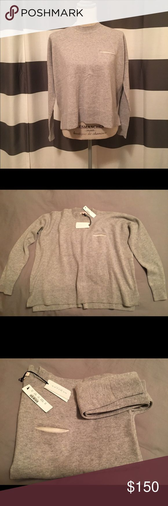 Demylee for J.crew 100% cashmere sweater size XS Demylee for J.Crew gray cashmere sweater. Size XS NWT and never worn! Super cute slightly boxy sweater with an adorable discrete little pocket. 100% cashmere sweater retailed for $320, only asking $150! Demylee for J.Crew Sweaters Crew & Scoop Necks