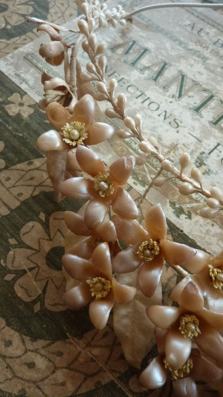 French Bride S Wax Wedding Crown Tiara Pearl Champagne Color From Frenchfadedgrandeur On Ruby Lane