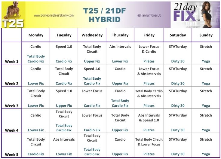 T25 Workout Calendar Horizontal Month 1 Exercise Pinterest
