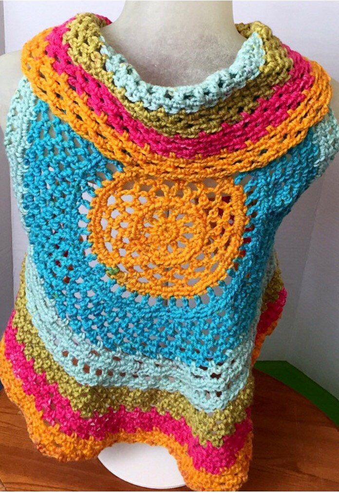 A personal favorite from my Etsy shop https://www.etsy.com/ca/listing/556987772/colourful-boho-mandala-vest-crochet