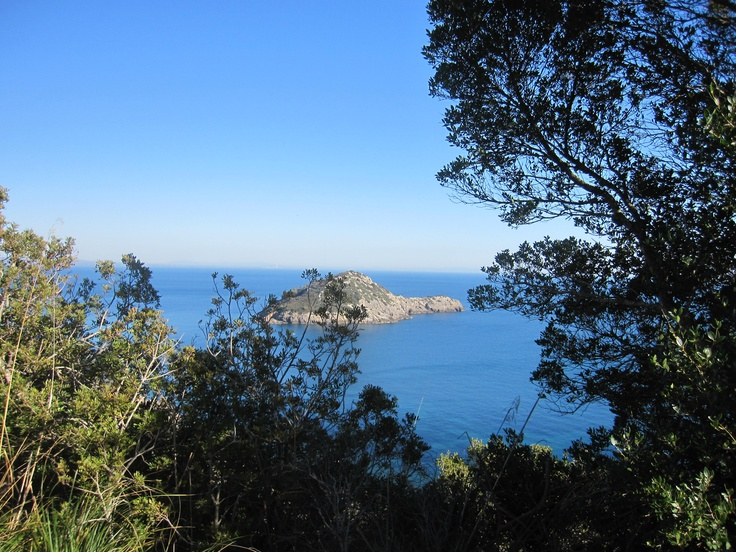 "Tirrenian sea in front of Porto Ercole and the big rock of ""Isolotto"", #maremma, #tuscany, #italy"