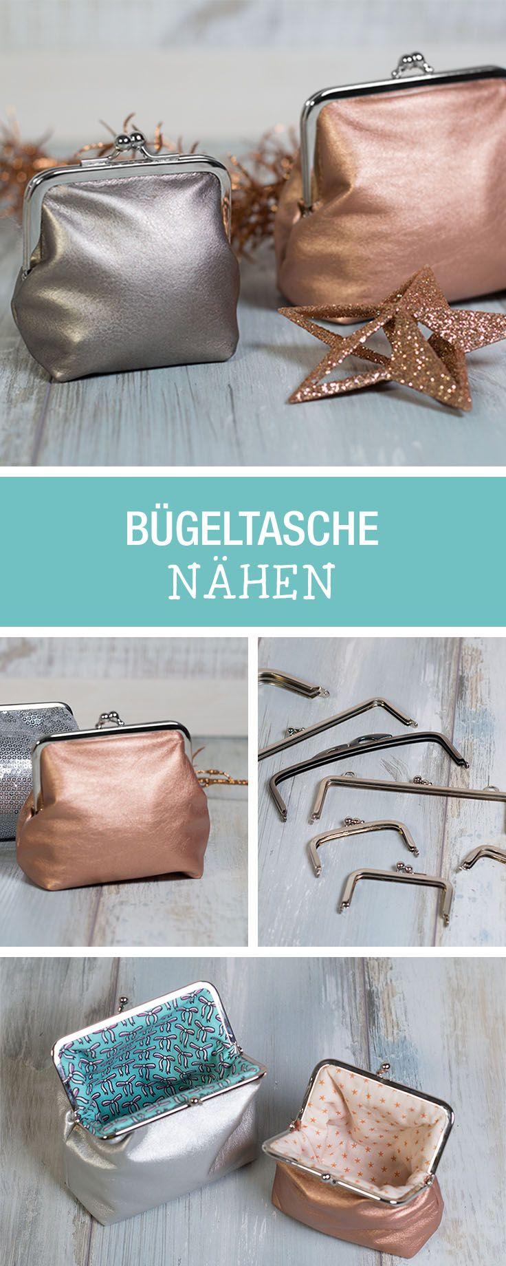 Nähen für Silvester: Taschen mit Bügelverschluss nähen / sewing little clutches with brackets via DaWanda.com