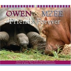 Owen and Mzee Friends Forever ★    Author/Artist : by Craig Hatkoff (Author), Isabella Hatkoff (Author)  Publisher : Scholastic    Owen and Mzee's true story of friendship continues! Owen the baby hippo, who was separated from his mother during the devastating tsunami in Southeast Asia, chose Mzee the giant tortoise as his friend--and the pair's bond only continues to grow.     This story of survival and hope has captured the hearts of people the world over who marvel as the two unique…