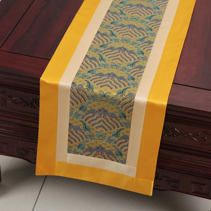 New Luxury Patchwork Table Runners Dining Table Protective Mats European style Natural Real Silk Brocade Coffee Table Cloth