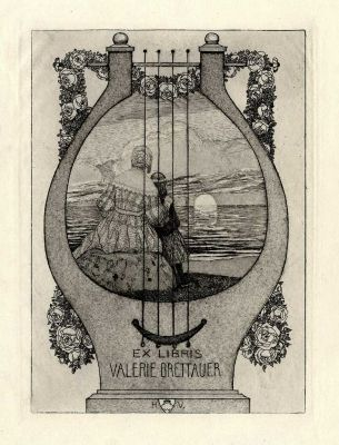 Bookplate by Heinrich Johann Vogeler for Valerie Brettauer, 1904
