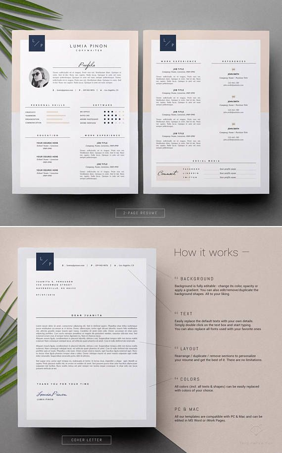 Stylish Resume With Photo Modern Resume Design For Ms Word Classic Cv Template Feminine Resume Template Instant Download Lumia Resume Design Modern Resume Design Resume Template