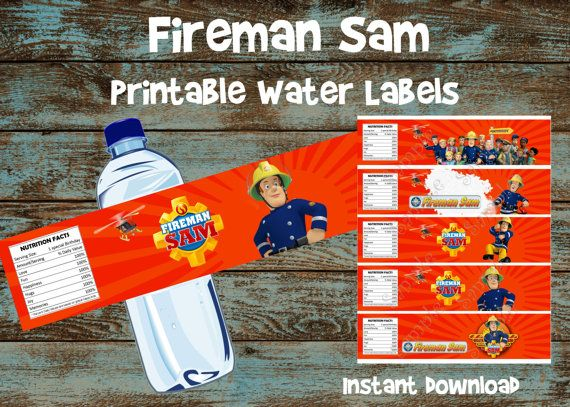 Fireman Sam water bottle label Fireman Sam by 954onlineinvitations