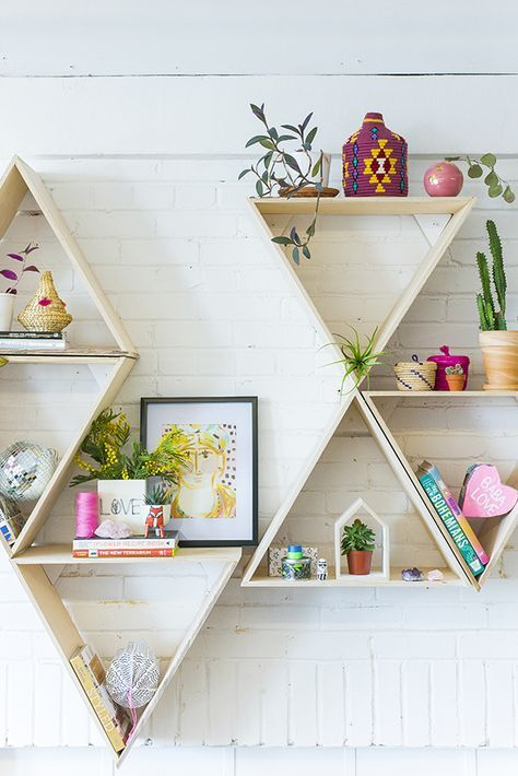 20 Ide Geometric Shelves Terbaik Di Pinterest