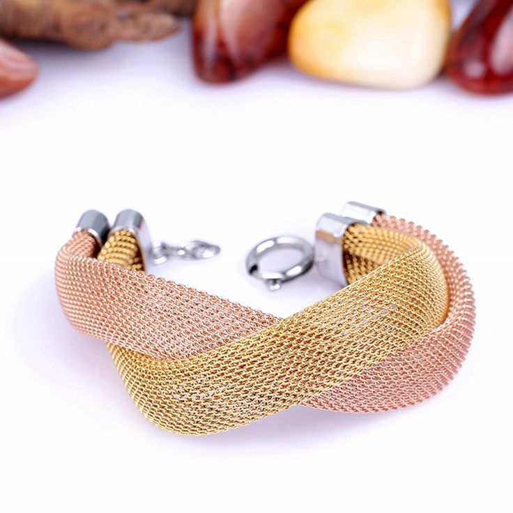 316L surgical stainless steel 18K Gold Filled Mesh tube Bracelet with Lobster Claw Clasp Connector 18K Rose Gold and Gold by UniqueMeDiscovery on Etsy