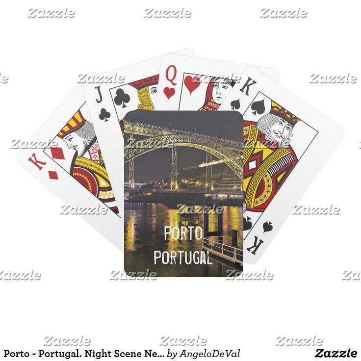 Porto - Portugal. Night Scene Near Douro River Playing Cards