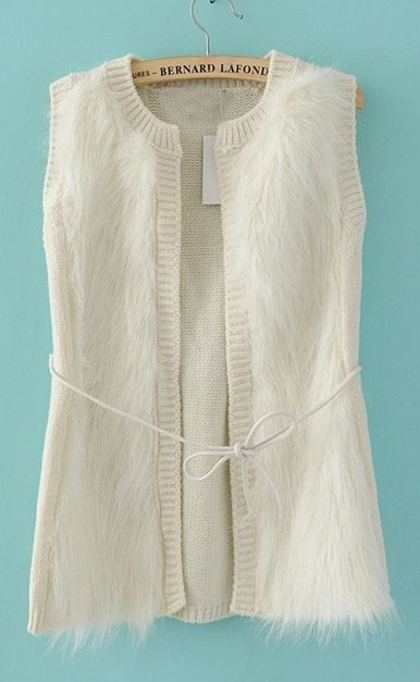 White Sleeveless Cardigan Chest Faux Fur Vests