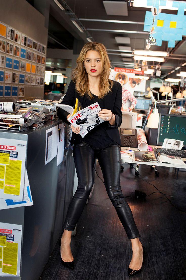Virginie Efira, Movie style black leather leggings and heels