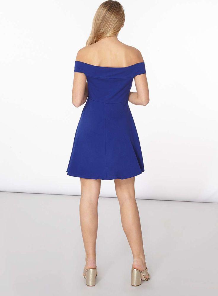 Womens Cobalt Bardot Skater Dress- Cobalt