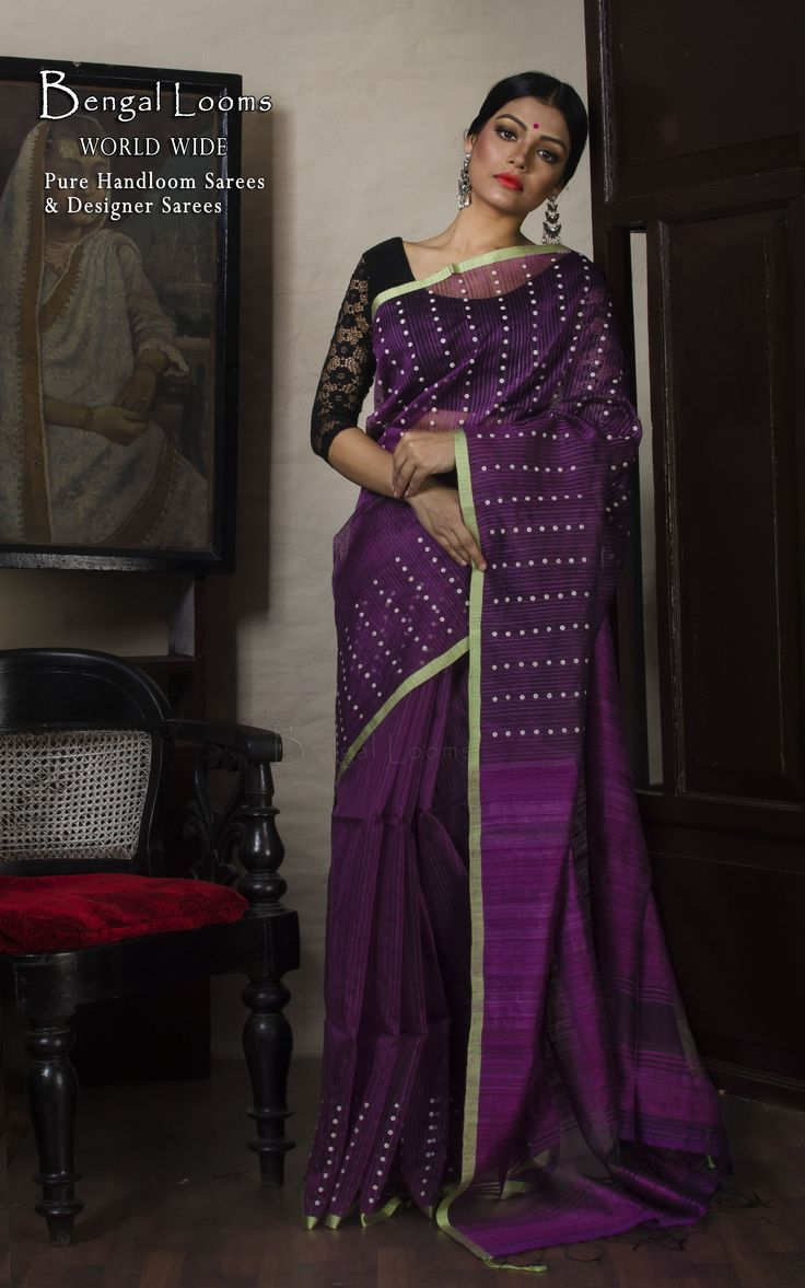 Khadi Muslin Silk Saree with Sconch Work in Purple and Green