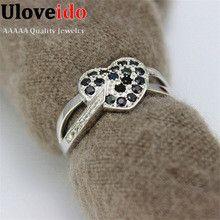 Engagement Party Wedding Black Bague Simulated Diamond Rings Zirconia for Women Aniversario Aneis de Diamante Anillos Ulove Y007