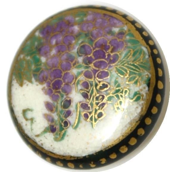 Antique Wisteria Satsuma Button Meiji 19th / 20th Century