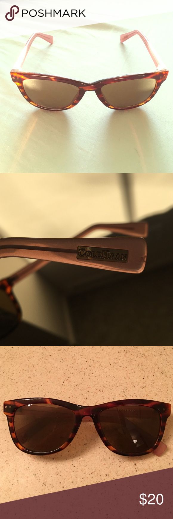 Cole Haan Women's Sunglasses (C6069 25) Honey tortoise and transparent pink rectangle sunglasses. Left lens has small scratch, but doesn't affect sight. Feel free to make me an offer! Cole Haan Accessories Sunglasses