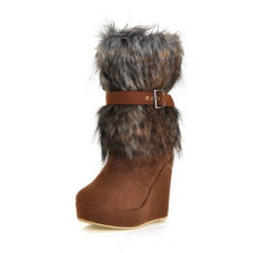 Suede Upper Wedge Heel Mid-Calf Boots With Fur Party/ Evening Shoes More Colors Available
