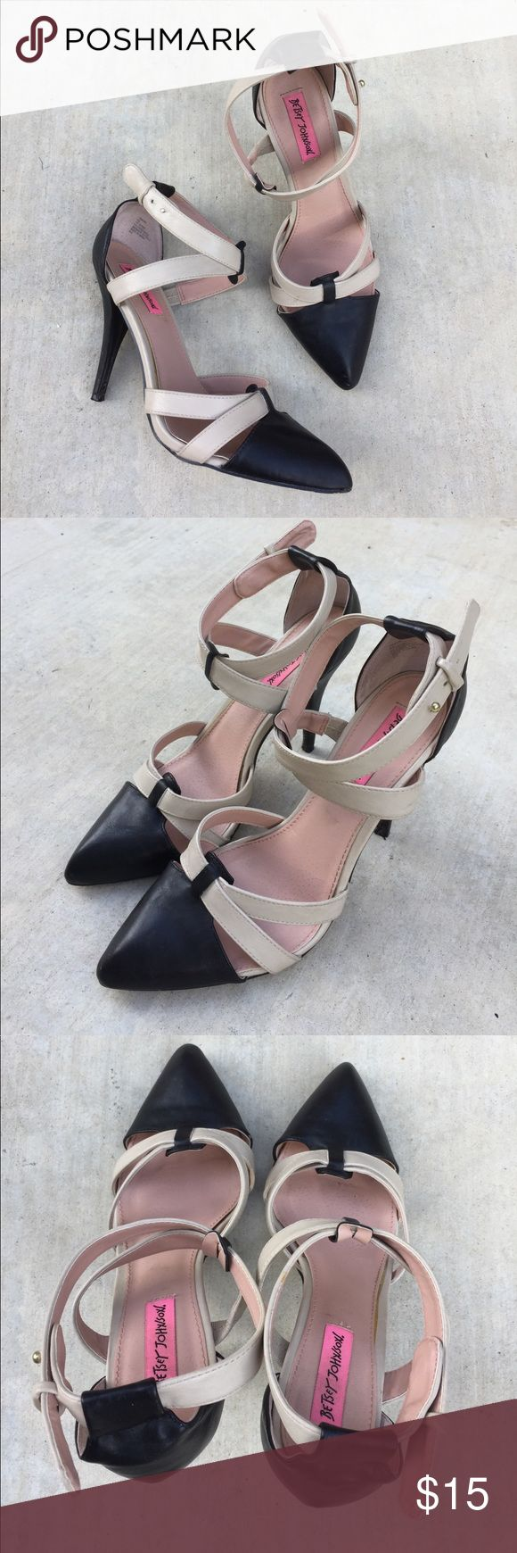 Betsey Johnson Twwine Black & cream strappy heels Gently worn , size 8.5 , heel is 4.5 inches , done glue marks on top sole of shoe and ball is missing from fastener as shown , the fastener still works , price reflects this Betsey Johnson Shoes Heels