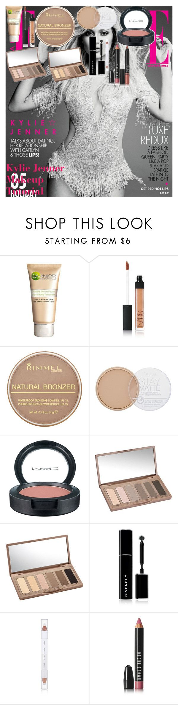 """Kylie Jenner Makeup Tutorial"" by oroartye-1 on Polyvore featuring beauty, Garnier, NARS Cosmetics, Rimmel, MAC Cosmetics, Urban Decay, Givenchy, shu uemura and Bobbi Brown Cosmetics"