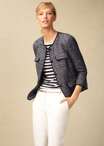 Wear stripes with my blue jackets.  Spring 2013 Look Book   Talbots.com