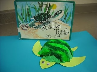 a little sea turtle made of paper pulp. Our media aide found this cute book, The Smallest Turtle by Lynley Dodd, about a turtle's