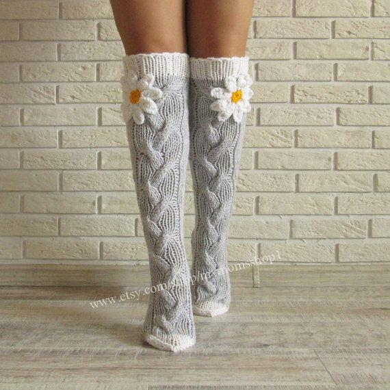 Grey socks with camomile. Women Gifts  Knit socks. Handmade Knee high Socks Wool socks Warm winter socks.