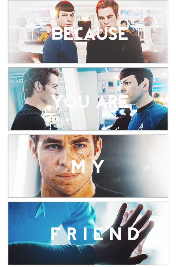 """""""Is it weird that I know that the first three images are from the 2009 movie and only the last image is from Into Darkness?...I don't think so..."""" That was from the first person who posted it. It's not that hard to figure out because he wasn't technically a Captain in the first one. That's why he's not wearing his gold uniform."""