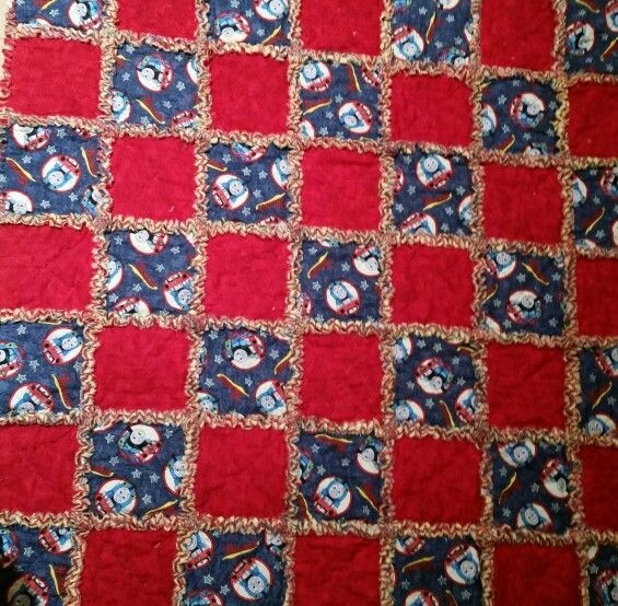 Thomas the train rag quilt yellow flannel in between the for Fabric with trains pattern
